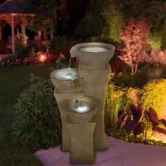 "25.2""h $137.05Pure Garden 25 in. Cascade Bowls Fountain with LED Lights-50-0003 - The Home Depot"