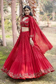 Buy Embellished Lehenga Set by Astha Narang at Aza Fashions - Source by mopmaid - Indian Wedding Outfits, Bridal Outfits, Indian Outfits, Bridal Dresses, Indian Bridal Fashion, Lehenga Choli Designs, Designer Bridal Lehenga, Indian Lehenga, Indian Designer Outfits