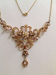 Finest Beautiful Antique Victorian 15ct Gold Natural Pearl & Diamond Necklace
