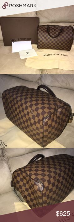 Louis Vuitton Damier Ebene Speedy 30 100% Authentic Louis Vuitton Speedy 30 Bag | Great condition | No rips, holes, or discoloration | Purchased from LV store in Lenox Mall in Atlanta, GA | Original box, dust bag, and lock included Louis Vuitton Bags Satchels