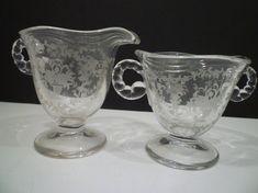 FOSTORIA GLASS. Sugar and Creamer MAYFLOWER by TheBrambleyCottage
