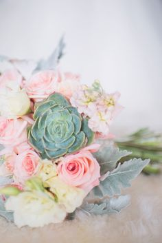 boells will be boys:: Ivory, mint, pink and coral flower bouquet with dusty miller and succulents.