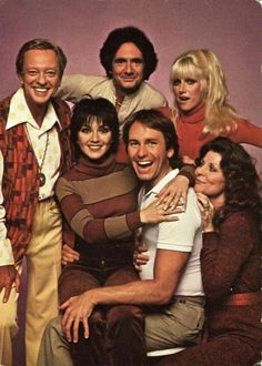 The cast of Three's Company in Season Four Left to right: (top) Don Knotts as Ralph Furley, Richard Kline as Larry Dallas, Suzanne Somers as Chrissy Snow (Bottom) Joyce DeWitt as Janet Wood, John Ritter as Jack Tripper, Ann Wedgeworth as Lana Shields Lg 4k, Children Of The Revolution, John Ritter, Don Knotts, Comedy Tv Shows, Suzanne Somers, Three's Company, Vintage Tv, Vintage Hollywood