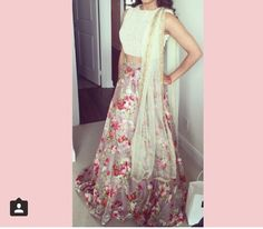 Pink and white floral lengha