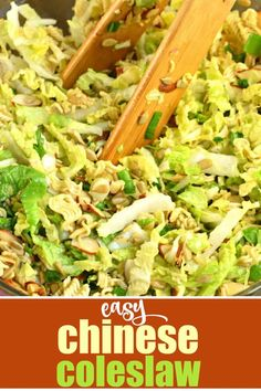 Looking for the perfect potluck recipe? This Chinese Coleslaw with ramen noodles is crunchy and sweet and irresistible. Chinese Coleslaw, Coleslaw Salad, Coleslaw Recipes, Japanese Coleslaw Recipe, Ramen Cabbage Salad, Chinese Cabbage Salad, Cabbage Salad Recipes, Coleslaw With Ramen Noodles, Salads