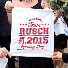 Ok so I'm sneaking in under the wire but Happy 1st Anniversary to one of my best friends Megan over @mrandmrsweddingevents!  We work together on a lot of weddings but being a part of her big day was one of my favorites!  Especially these rally towels we designed together to surprise her husband!  We are all big St. Louis Cardinal fans so this was the perfect send off!! Stunning  by @lam_photo . . . #helloworldpaperco #mrandmrsweddingevents #rallytowels #stlcardinals #saintlouiscardinals…