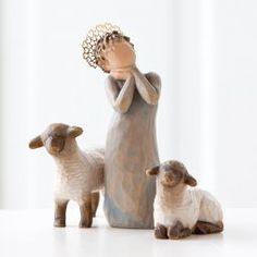 "Willow Tree® by Susan Lordi ""Little Shepherdess"" with Sheep Nativity Scene Figurines Angel Sculpture, Sculpture Art, Willow Tree Nativity Set, Nativity Sets, Simple Nativity, Willow Tree Engel, Willow Tree Figuren, Collectible Figurines, Sheep"