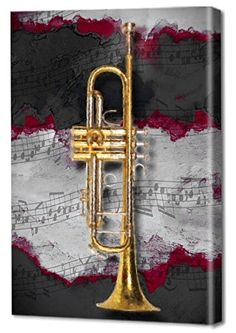 "Zzz  Menaul Fine Art ""Jazz Trumpet Red"" Limited Edition Artwork, 30 x 45"", Red/Black/Silver/Grey/Yellow/Gold/White"
