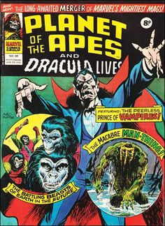 Marvel UK's Planet of the Apes merges with their version of Dracula Lives.