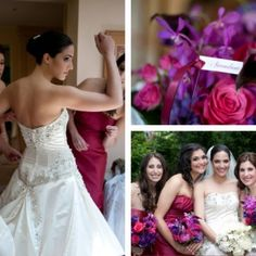 hot pink and purple flowers- don't like bridesmaids dresses