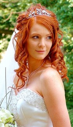 Bride's long half updo with tiara bridal hair Toni Kami Wedding Hairstyles ♥ ❷ Wedding hairstyle ideas ginger