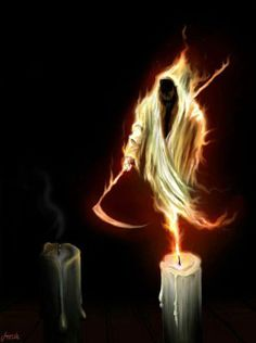 The Grim Reaper Candle by on deviantART Grim Reaper Art, Don't Fear The Reaper, Dark Fantasy Art, Reaper Tattoo, Bild Tattoos, Fire Art, Angel Of Death, Angels And Demons, The Grim