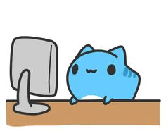 Awww So kawaii Chibi Cat, Cute Chibi, Blue Cats, Gray Cats, Gato Gif, Mini Comic, Cute Animals, Funny Animals, Super Cat