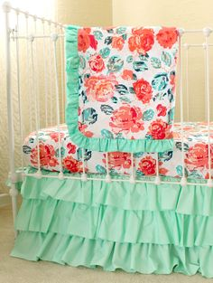 Pixie Park - Coral Mint and Navy Baby Bedding, Custom Baby Girl Bedding Set featuring Mint and Coral Rose Floral by LottieDaBaby on Etsy https://www.etsy.com/listing/224672991/pixie-park-coral-mint-and-navy-baby