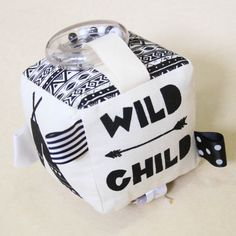 Monochrome interactive baby soft block, handmade in Byron Bay by Babee and Me. Wild child. Aztec inspired.