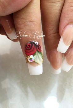 Crazy Nails, Fun Nails, Nail Drawing, Exotic Nails, Flower Nails, French Nails, Nail Art Designs, 3 D, Hair Beauty