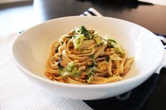 food on paper: Linguine with Zucchini, Basil, Lemon and Pine Nuts