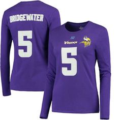 Teddy Bridgewater Minnesota Vikings Majestic Women's Fair Catch V Name & Number Long Sleeve T-Shirt – Purple