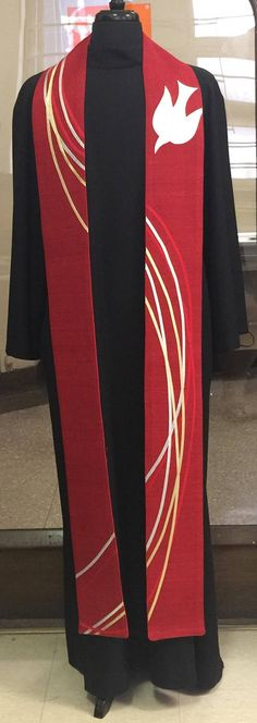 Red Ribbon and Single Dove Clergy Stole Lustrous silk is appliquéd with ribbons of silk dupioni and gold and silver lame' and a single white dove in silk dupioni. The stole is 5 Baptism Banner, Church Banners, Church Design, White Doves, Kirchen, Christian Art, Red Ribbon, Ribbons, Gold Cross