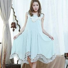 Buy Blue Hat Sleeveless Lace-Trim Dress at YesStyle.com! Quality products at remarkable prices. FREE WORLDWIDE SHIPPING on orders over US$�35.