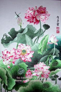 Lotus flowers, silk embroidery painting, all hand embroidered with silk threads on silk by embroidery artists from Su Embroidery Studio, Suzhou China