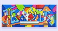 Santa Ceia Estilizada 2, pintada a mão dividida em 3 painéis de 40 cm x 50 cm  juntas medem 50 cm de altura por 120 cm comprimento por 4 cm profundidade, podem ser colocadas juntas ou separadas ate 15 cm espaço entre cada painel ...dando aquele toque especial, as laterais são pintadas, sendo assi...