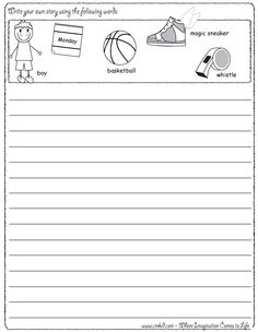 Sports - Writing Fun ~ Write your own story using our writing prompts. We give you five words on our printout sheet and you create a story. First Grade - Second Grade - Third Grade. Get your pens ready & let the fun begin! www.crekid.com