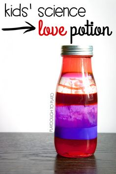 Awesome kids' science project! Make a batch of love potion. Perfect Valentine's Day STEM activity for preschool, kindergarten or first grade.