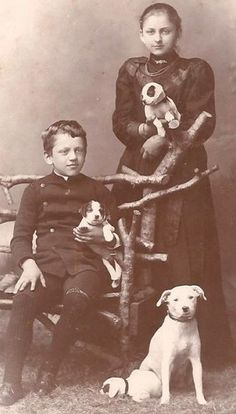 Two Children, A Dog and 3 Puppies Germany,  CDV