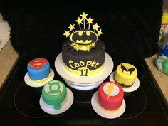 Batman, superman, flash, wolverine, and green lantern cakes heros