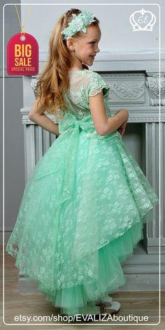 Mint Flower girl dress, Tutu dress, Green girl dress, Bridesmaid Dress, Princess Dress, Tulle Lace Dress, Wedding Dress, Birthday Dress, Vintage Girl dress