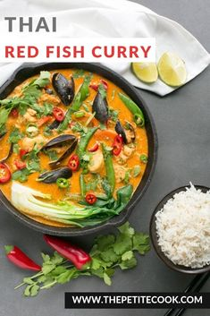 This vibrant spicy Thai Red Fish Curry is ready in 20 min and loaded with fresh fish, vegetables and spices. It's also dairy-free and gluten-free. Fish Recipes, Asian Recipes, Healthy Recipes, Ethnic Recipes, Cheap Recipes, Recipies, Healthy Meals, Savoury Recipes, Gf Recipes