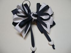 Great for all Season wearing ~ NAVY  White Hair Bow Sweetheart HEART Nautical by HareBizBows