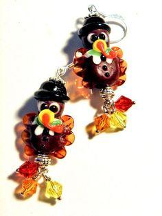 Earrings Thanksgiving Turkey Lampwork Beads Handmade LE132 Made t