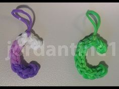 Rainbow Loom Skinny LETTER C Charm. Designed and loomed by jordantine1. Click photo for YouTube tutorial. 04/14/14.
