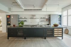 "Bespoke Oak Kitchens - sohofactory Hop Kiln 1  ""Plain English Design Ltd""  Modern Soho Factory Kitchen.  (They do closets too)"