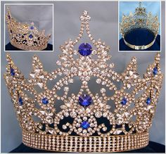 Continental Gold blue Sapphire Crown Tiara – CrownDesigners