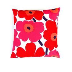 Marimekko Red Pillow Cover. Scandinavian Floral by OnHighat5