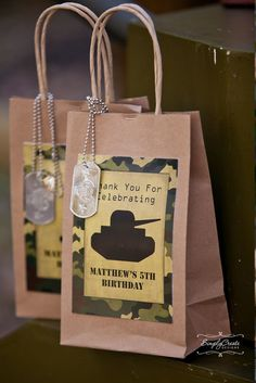 Fun favors at an Army Camouflage Birthday Party! See more party ideas at CatchMyParty.com!
