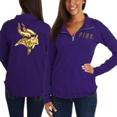 Victoria's Secret PINK Minnesota Vikings Ladies Half-Zip Sweatshirt - Purple