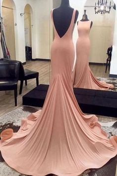 RightBrides 44492 | Blush Pink Prom Dresses 2017, Simple Mermaid Long Pink Prom Dress Evening Dress