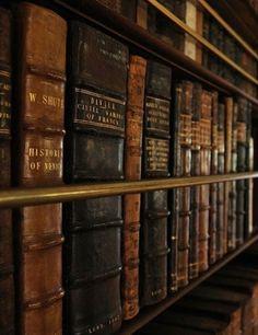 Sanctuary: Vintage leather-bound #books.