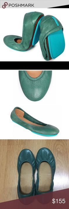 Tieks Pacific Green Ballet Flats Only worn a few times. Too small for my feet as I lean more towards a size 6.5/7. They are so beautiful. Sad to see them go. Bottoms show use but very slight. Otherwise near perfect condition! Will ship in original box and packaging! Tieks Shoes Flats & Loafers