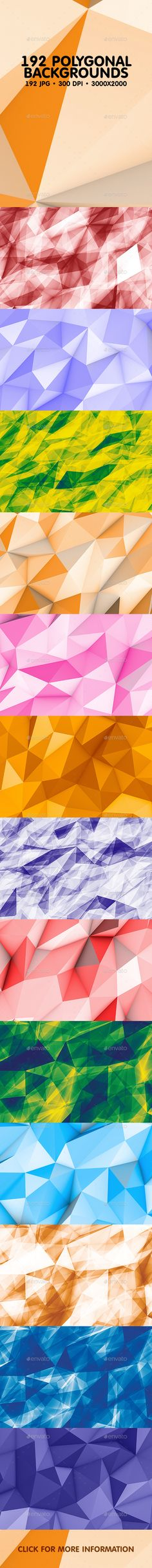 192 Polygonal Backgrounds Bundle by ArtefBones This pack contains 192 jpg different abstract flat and 3d polygon backgrounds for your projects. You can use these backgrounds in