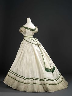 Girls evening dress by Worth, 1867, France, Royal Ontario Museum.