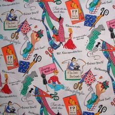 Michael Miller Fabric- If She Sews She Knows Sewing Fabric -Multi- Retro Novelty Fabric.