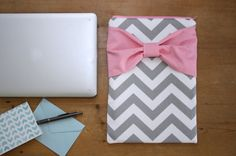 MacBook Case / Laptop Sleeve  Gray Pink Bow by AlmquistDesignStudio