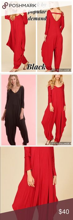 Black 1 Piece Harem Jumper. Back By Popular Demand. Black! Black Harem 1 Piece Jumper. Jumper has long sleeves & choker back. Has harem bottom. Comfy & Stylish! Perfect for Vacation & traveling. COSB Pants Jumpsuits & Rompers