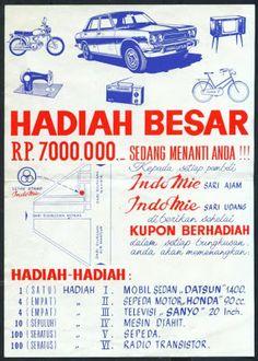 """Koleksi Tempo Doeloe: Iklan jadul """"Indomie"""", dari awal th.1970 an, yang masih memakai logo perusahaan semen """"Indocement Tiga Roda"""""""