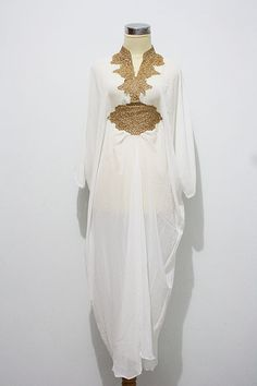 i'm finding it difficult to imagine myself in anything other than this farasha style on my wedding day // AMAZING SUPER WHITE Gold Embroidery Caftan Dubai Abaya by aboyshop, $65.00